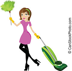 Housekeeper holding a feather duster and vacuum