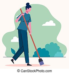 cleaning lady sweeping scene
