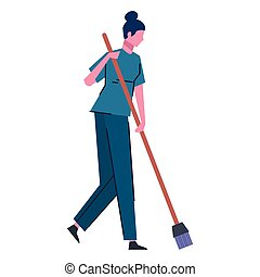 cleaning lady sweeping