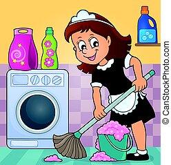 Cleaning lady theme image illustration.