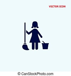 cleaning lady vector icon