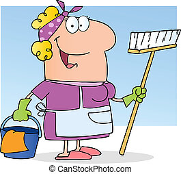 Cleaning Lady - Woman Cleaner With Apron, Gloves And A...