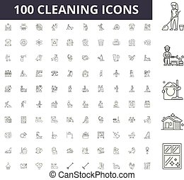 Cleaning line icons, signs, vector set, outline illustration concept