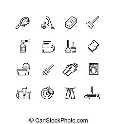 Cleaning line vector icons