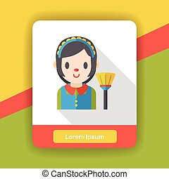 cleaning Maid flat icon
