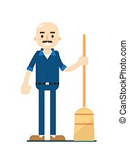 Cleaning man in uniform icon
