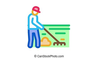 cleaning man with rake Icon Animation