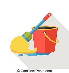 cleaning mop flat icon