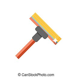 Cleaning mop flat vector.