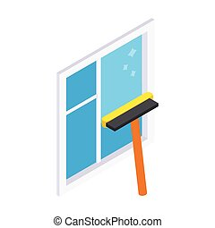 Cleaning mop window isometric 3d icon isolated on a white...