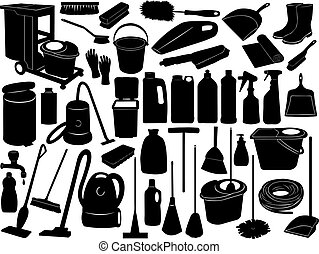 Cleaning objects isolated on white