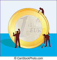 Cleaning of Euro coin