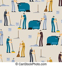 Cleaning pattern seamless. Janitor and Cleaner background. broom and Industrial Vacuum Cleaner. sweeping brush and Bucket. Service worker people. swabber