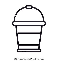 cleaning, plastic bucket container domestic hygiene line style icon
