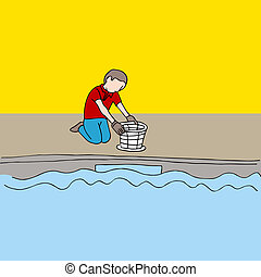 Cleaning Pool Filter - An image of a man cleaning a pool...