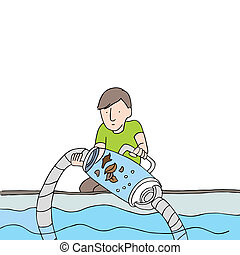Cleaning Pool Filter Vacuum - An image of a man cleaning a...