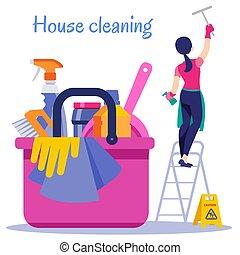 cleaning., poszter, épület, ábra, vektor