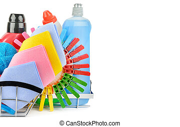Cleaning product isolated on white background . Free space for text.