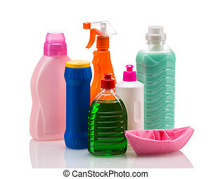 Cleaning product plastic container for house clean on white...