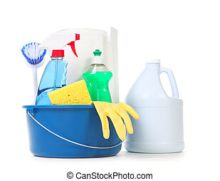 Cleaning Products for Daily Use in the Home on White...