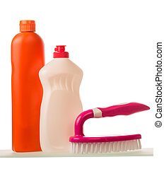 Cleaning products isolated