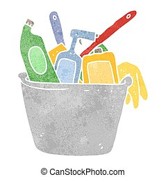 cleaning products retro cartoon - cleaning products freehand...