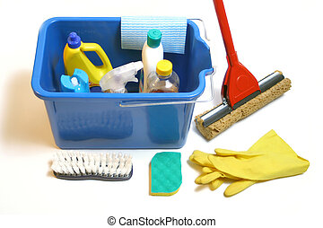 cleaning products inside bucket with gloves, mop, cloth and...