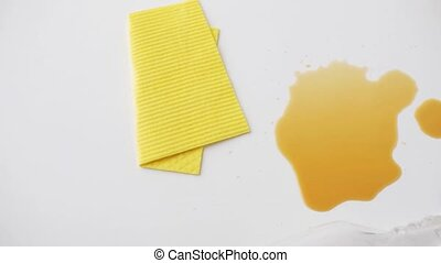 cleaning rag, detergent spray and spilled stain - housework,...