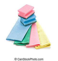cleaning rags and sponge