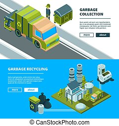 Cleaning recycling waste banners. Sorting garbage and cleaning urban environment trash incinerator truck vector concept pictures