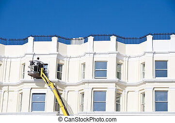 Cleaning sash windows - A man cleaning sash windows from ...