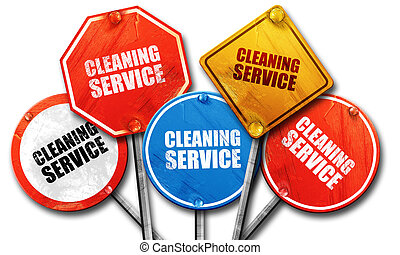 cleaning service, 3D rendering, street signs