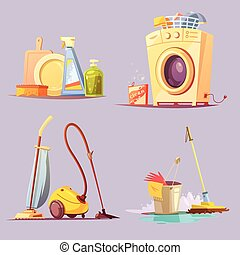 Cleaning Service 4 Cartoon Ions Set