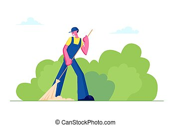Cleaning Service Activity Concept. Janitor Female Character Street Cleaner Holding Broom Sweeping Lawn from Fallen Colorful Leaves in City Park Landscape Background. Cartoon Flat Vector Illustration
