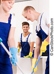 Cleaning service at work