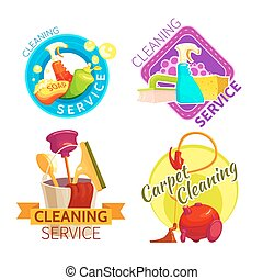 Cleaning Service Badge Set