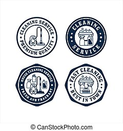Cleaning service badge stamp collection