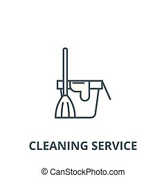 Cleaning service, bucket with a broom line icon, vector. Cleaning service, bucket with a broom outline sign, concept symbol, flat illustration