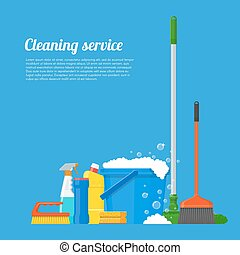 Cleaning service company concept vector illustration. House Cleaning tools poster design in flat style.