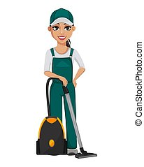 Cleaning service concept. Cheerful cartoon character