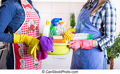 Cleaning service concept - Two cleaning women holding basin...