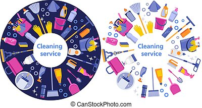 Cleaning service flat illustration. House cleaning services with various cleaning tools in a circle. Blue and white isolated option. Vector illustration