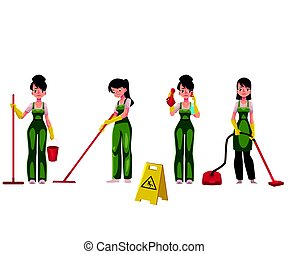 Cleaning service girl, charwoman with vacuum cleaner, mop...
