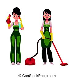 Cleaning service girls in overalls, with vacuum cleaner,...
