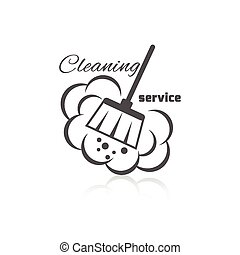 Cleaning Service Icon - Cleaning service icon with dust ...