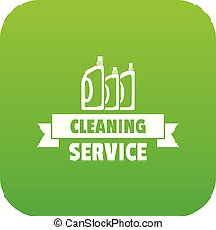 Cleaning service icon green vector