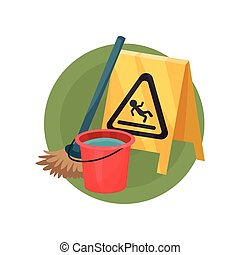 Cleaning service icon, professional equipment of cleaner cartoon vector Illustration