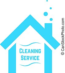 cleaning service icon with blue house