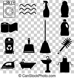 Cleaning service icons set. Flat style Vector illustration