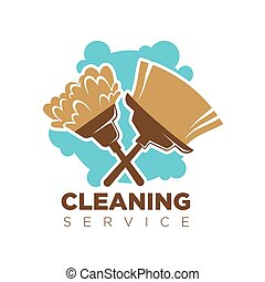 Cleaning service isolated logotype with broom and mop on white